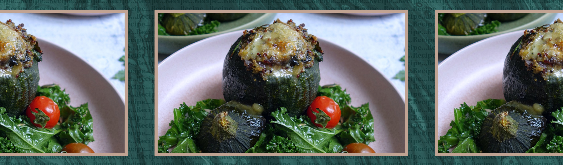 Cheesy stuffed round courgettes