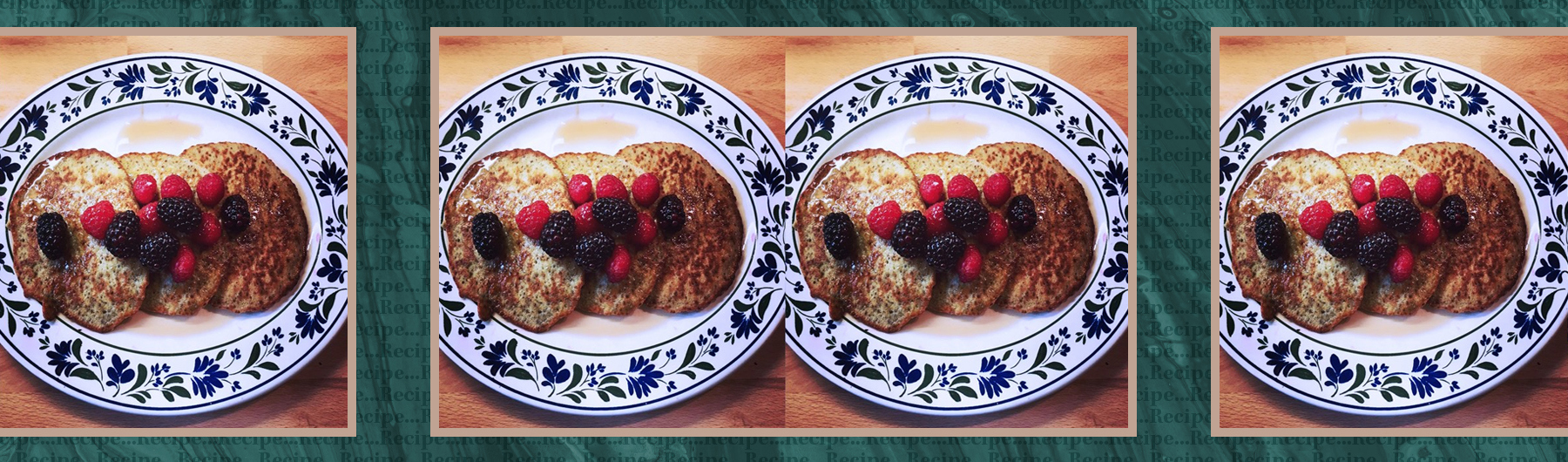 Banana-chia pancakes with berries and maple syrup